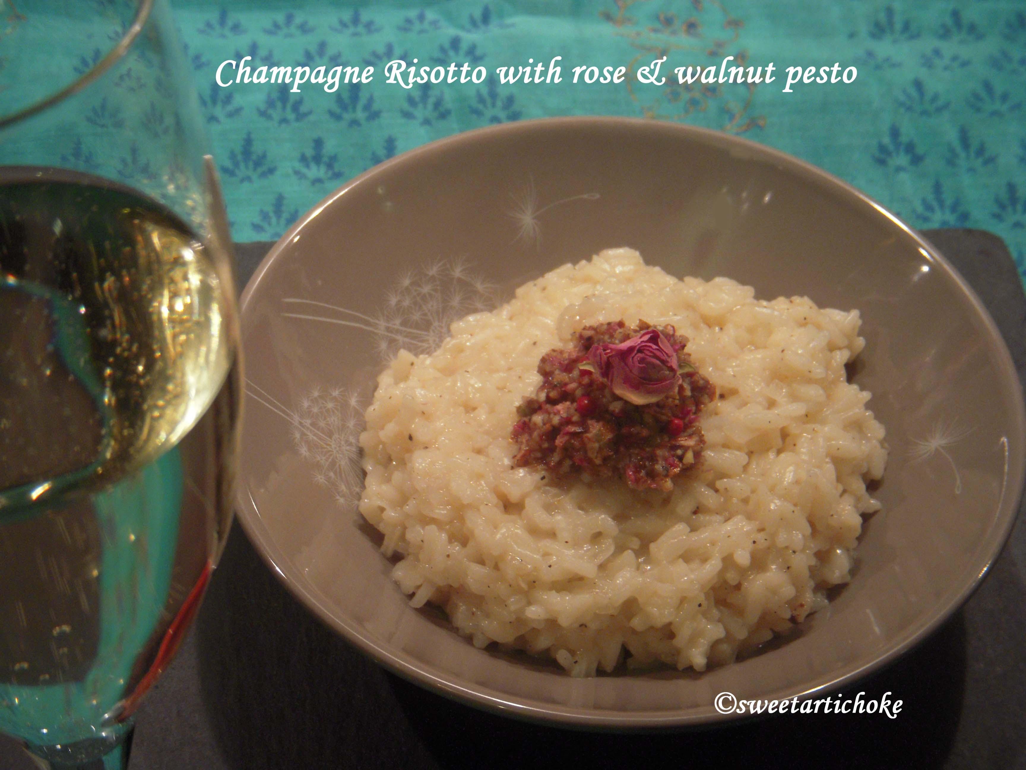 Champagne Risotto with rose & walnut pesto | Sweet artichoke